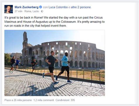 la poste si鑒e social zuckerberg con la corsa al colosseo diventa testimonial social di roma il sole 24 ore