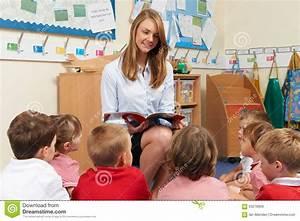 Teacher Reading Book To Elementary School Class Stock ...