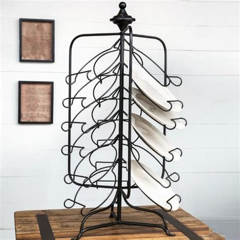 spinning plate display rack antique farmhouse