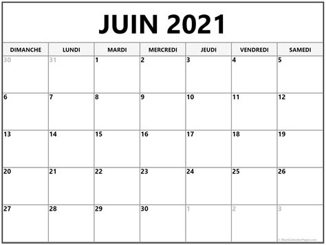 juin  calendrier imprimable calendrier gratuit