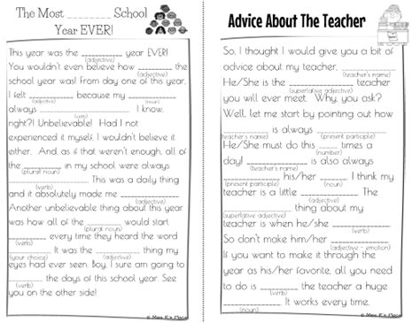 year mad libs  kids writing activity