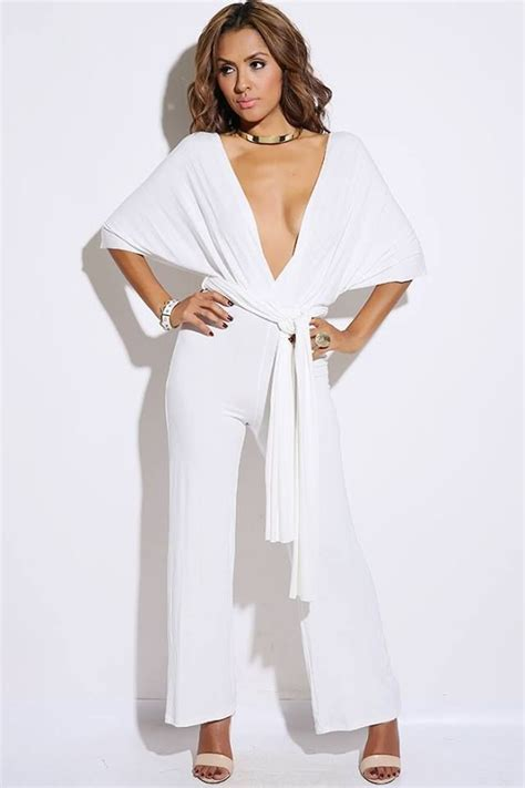 all white jumpsuit for white convertible bow tie backless jumpsuit