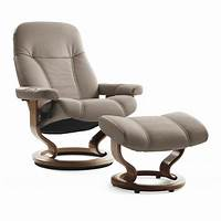 small reclining chairs Stressless Small Consul Recliner Chair & Footstool in Mole