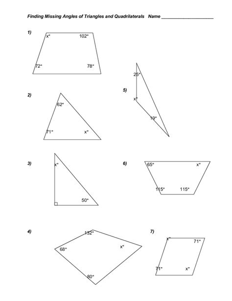 math triangle worksheets the missing angle triangles