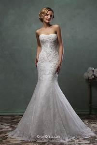 stunning strapless detachable skirt mermaid lace wedding With strapless lace mermaid wedding dress