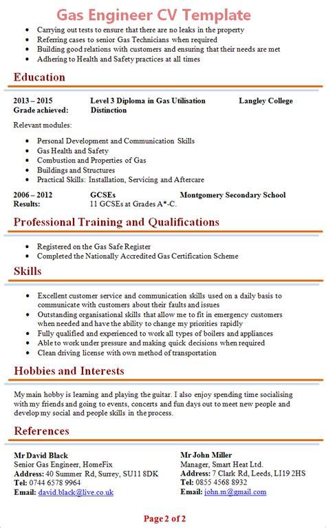 gas engineer cv template