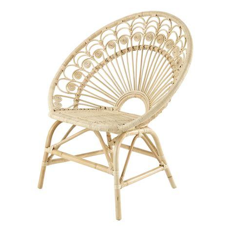 fauteuil vintage en rotin peacock maisons du monde