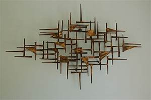 mid century modern brutalist nail art wall hanging sculpture With mid century modern wall art