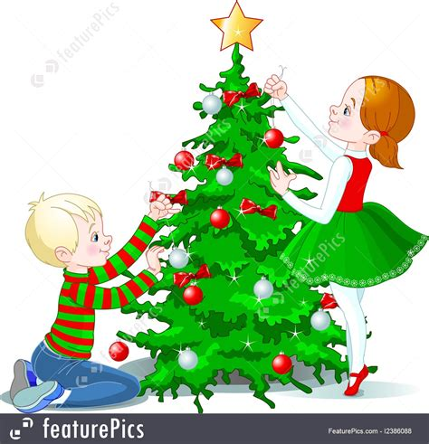 childrens christmas tree decorations children decorate a christmas tree illustration 5216