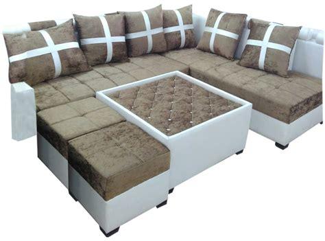 Delphia L Shape Sofa Set,center Table And 2 Puffy Dream