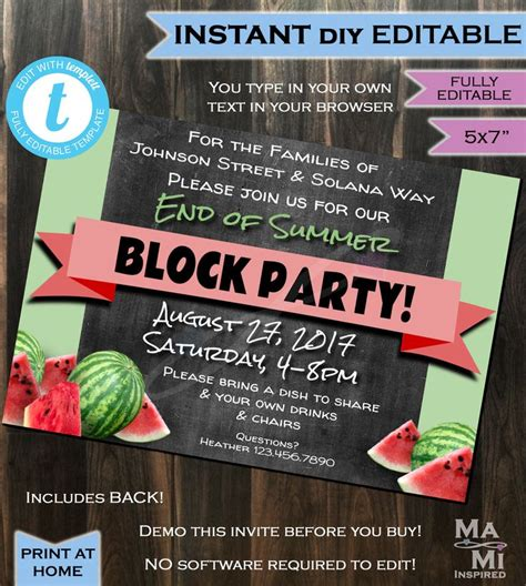 block party invitation   summer street party hoa