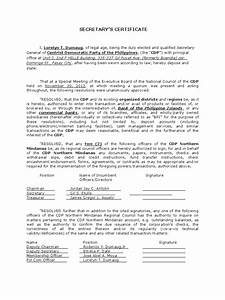 board resolution or corporate secretary39s certificate with With corporate secretary certificate template
