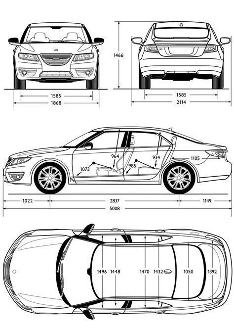 saab   sedan dimensions blueprint car body design