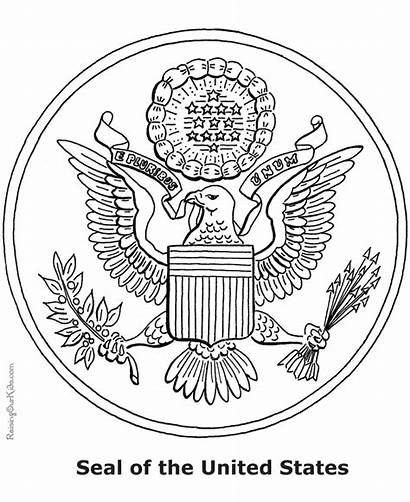 Seal States United Coloring Symbols Pages Patriotic