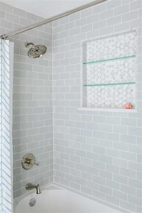 shower tub subway tile ideas shower with gray subway tiles transitional bathroom Shower Tub Subway Tile Ideas