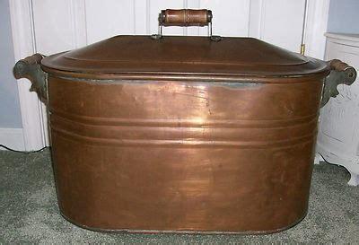 antique vintage large copper wash tub boiler pot basin  lid wooden handles wash tubs