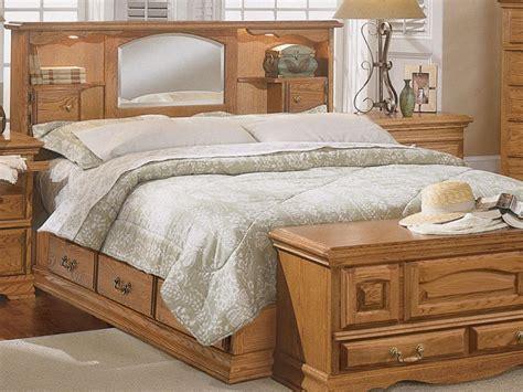 wooden bed  mirrored headboard bedroom set home
