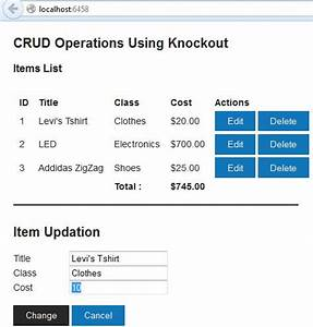 CRUD Operations Using Knockout in MVC Application: Part 2