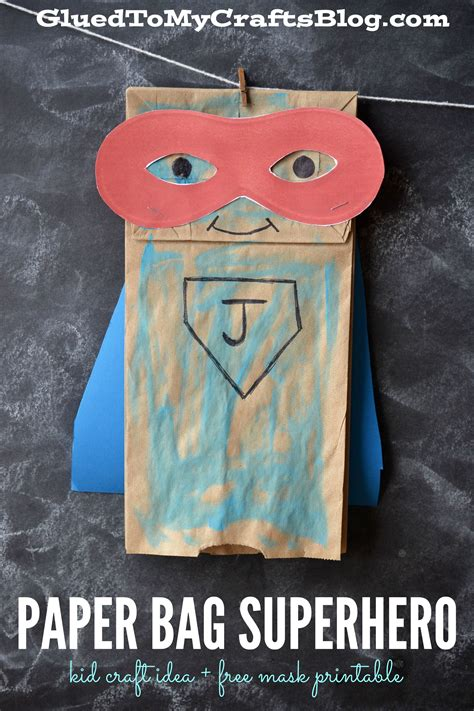paper bag superhero kid craft idea  mask printable