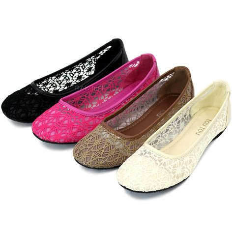 women ballet lace mesh flat slip  shoes casual dress
