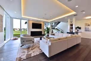 contemporary open concept living room  tray ceiling hgtv