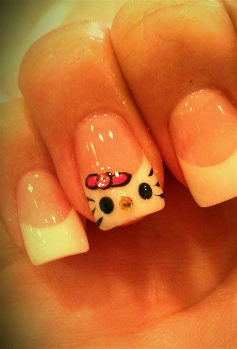 allison green clear white french manicure  kitty