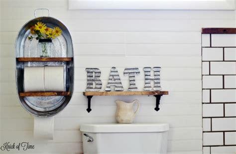 Farm Supply Inspired Diy Bathroom Shelf