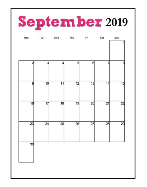 printable  vertical monthly calendar monthly
