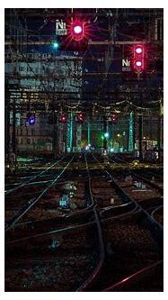 Wallpaper : 4485x2989 px, city lights, night, rail yard ...