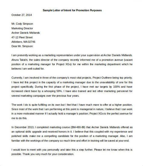 proper letter of intent for promotion letter format writing