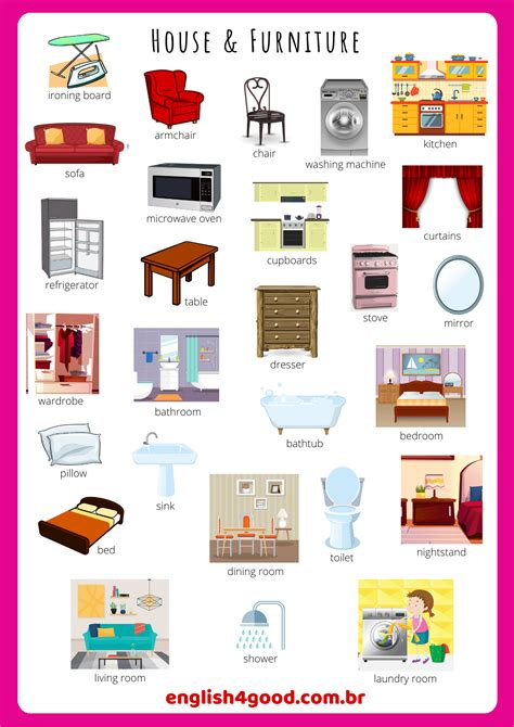 home furniture flashcards englishgood vocabulary