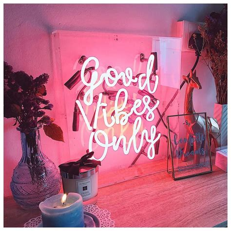Led Lights For Room Words by Vibes Only Neon Sign Via Helloconfettidreams