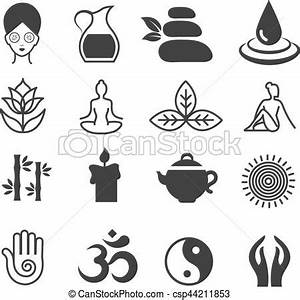 Relax Icons Vector Yoga Health And Spa Symbols Zen Skin