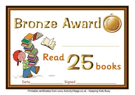 reading certificate bronze award