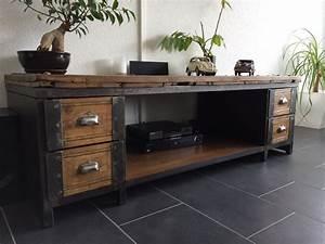 Meuble Industriel Vintage : table basse meuble tv industriel atelier vintage mobilier industriel lyon ~ Nature-et-papiers.com Idées de Décoration