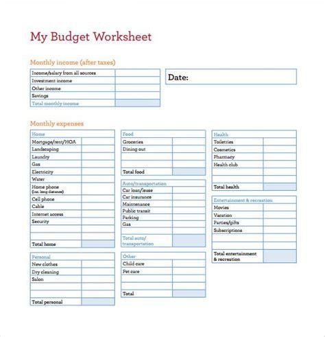 budget worksheet template  budget spreadsheet