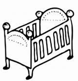 Cot Clipart Crib Clip Coloring Template sketch template