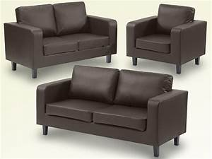 Ideal Furniture Box Brown Faux Leather 321 Seater Sofa Set