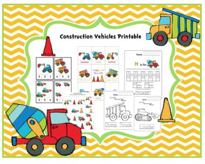 construction vehicles printable  preschool printables