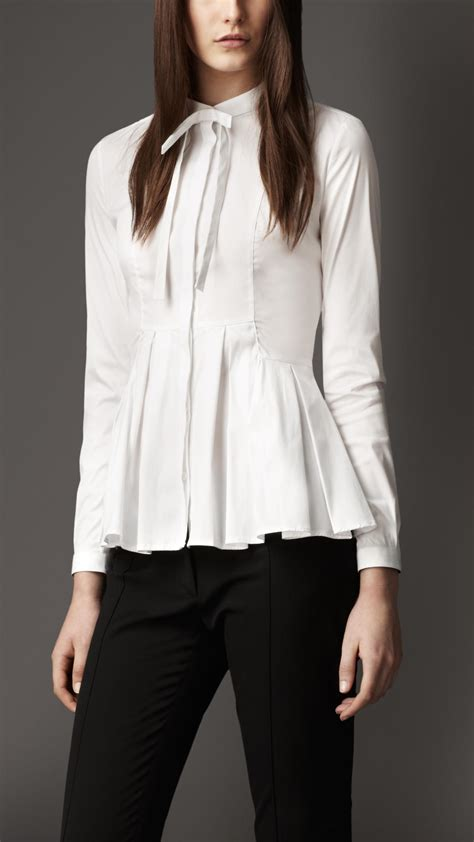 burberry blouse burberry pleated peplum shirt in white lyst
