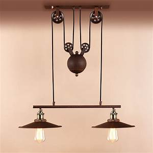 Retro, Hanging, Ceiling, Light, Vintage, Industrial, Pendant, Retractable, Pulley, Lamp