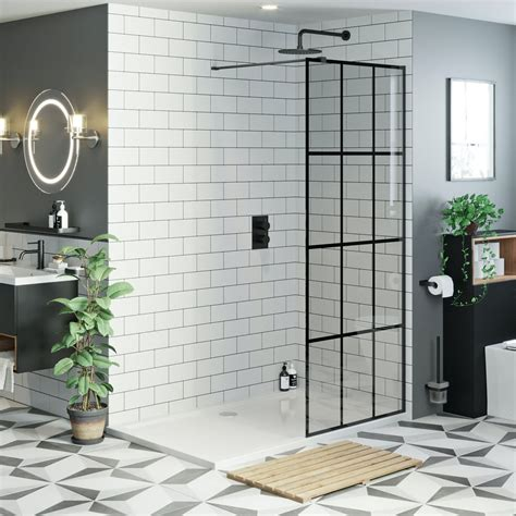 mode mm black framed panel  stone shower tray