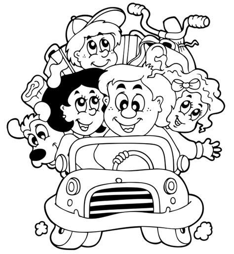 Kostenlose Malvorlage Transportmittel Familie In Einem