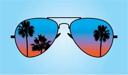 Sunglasses Sunset Vector Reflective Illustrations Sun Clip
