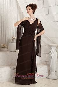 brown v neck ruched chiffon mother in law dress us12688 With mother in law wedding dress