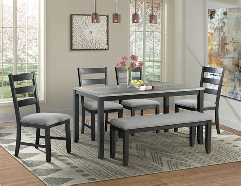 kona gray  black  piece dining room set  elements