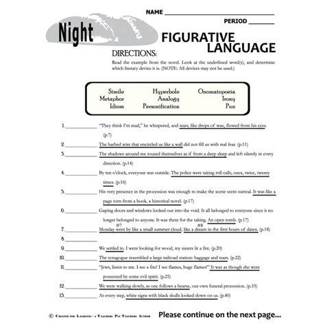 figurative language worksheets for 4th grade worksheets