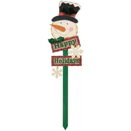 holiday time christmas decor snowman yard stake