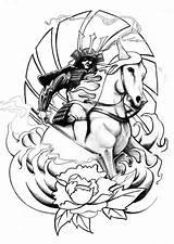 Samurai Tattoo Japanese Sketch Outline Desenhos Horse Tatuaje Tatuagens Tattoos Tatuagem Wave Samurais Armor Melhores Cerezo Japones Maybe Flash Deviantart sketch template