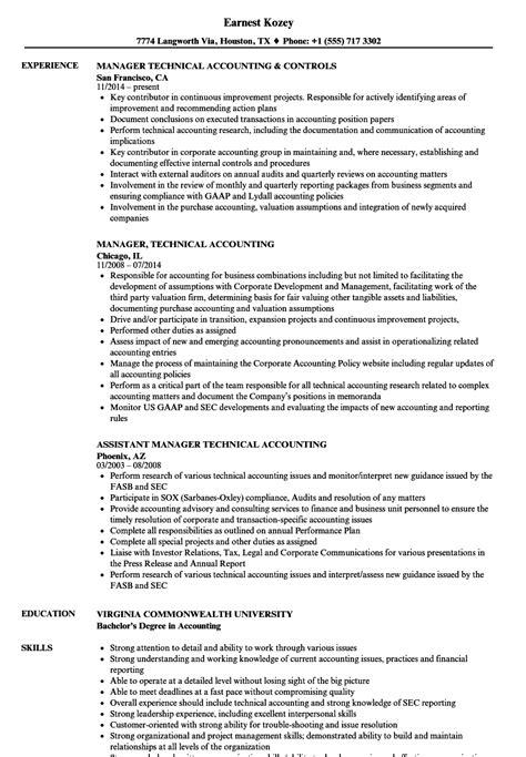 Manager, Technical Accounting Resume Samples  Velvet Jobs